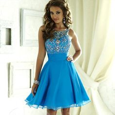 Cute Blue Crystal Short Dresses Homecoming 2016 Bateau Beading Backless Corset Chiffon 8th Grade Graduation Gowns Cocktail Junior Prom Wear
