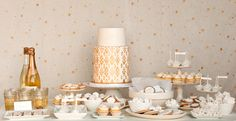 White and Gold Dessert Display   Q Weddings Photography   Found for you by www.astrabridal.co.nz  