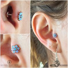 Maria stopped by today for a tragus piercing. It only took her a second to choose this stunning piece. This anatometal​ threaded flower is made from solid 18k rose gold, accented with lovely light blue opals. Wonderful choice, Maria. Thanks so much! vaughnbodyartsMonterey, CA