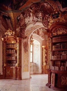 This is my dream library Someone has very expensive taste! This room looks like it belongs at Versailles. It is a very, very beautiful room, so I'm pinning it with my other library rooms. But it's too ornate for me to feel comfortable in it. Beautiful Library, Dream Library, Library Room, Magical Library, Grand Library, Library Events, Beautiful Architecture, Art And Architecture, Library Architecture