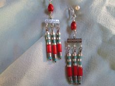 Coral turquoise and silver Egyptian style tribal earrings by ScreenGems333 on Etsy, $28.00