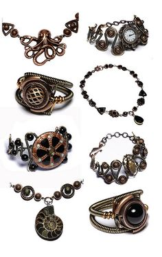 Copper Black Steampunk goth victorian jewelry by Catherinette Rings Steampunk