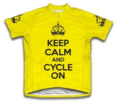 Keep Calm and Cycle On Short Sleeve Cycling Jersey for Men Yellow  Size L *** You can find more details by visiting the image link.Note:It is affiliate link to Amazon.
