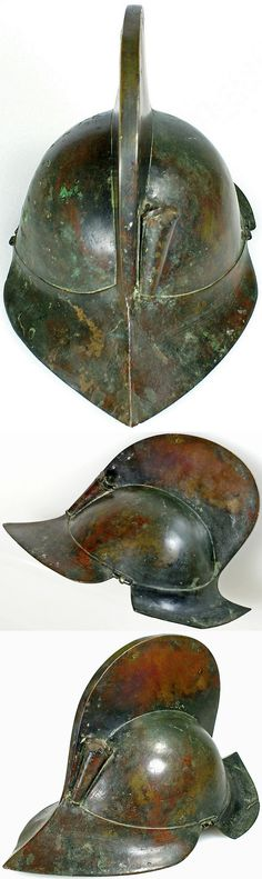 Moro (Philippines) helmet in the form of a European comb-morion, greenish-brownish patinated bronze, with one plume holder.