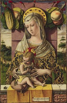 Carlo Crivelli, Madonna and Child, ca 1480, Tempera and gold on wood. The Metropolitan Museum of Art, New York.