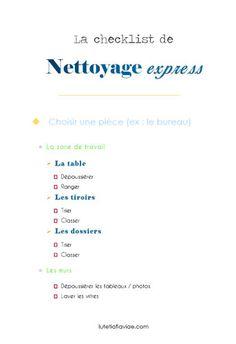 Ma checklist de nettoyage express, idéale pour faire un grand tri rapidement ou un nettoyage de printemps ! Téléchargez-la gratuitement sur lutetiaflaviae.com !