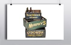O'Dowd's 24 bottle Stout Crate (53cmx35cm)  Green Murphy's 24 bottle Crate (53cmx35cm)  Blackrock Brewery Crate (40cmx25cm)  Flat black crate (45cmx30cm)  2 x Jameson Ice Buckets   http://www.prophouse.ie/portfolio/beer-crates/
