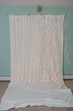 Christmas backdrop for pictures...We could do this with multi-color lights for our fiesta book fair this spring!