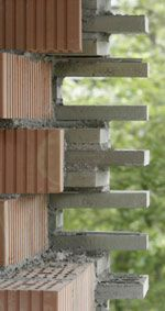 brick wall detail on the Kolumba museum/Peter Zumthor showing the brick scrim and interior structure Peter Zumthor, Concrete Masonry Unit, Concrete Bricks, Brick Architecture, Architecture Details, Kolumba Museum, Brick And Stone, Stone Houses, Building Materials