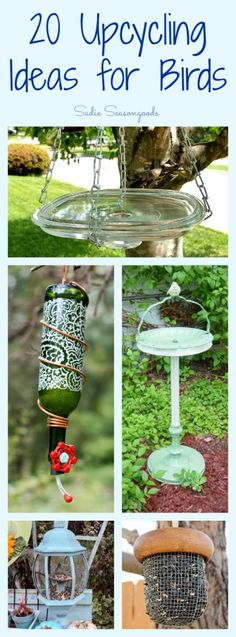 Creating your own wildlife-friendly yard is even more fun with you DIY bird feeders and baths using vintage and thrifted items! Lots of great upcycle / repurpose ideas in this collection. (fun projects for kids bird feeders) Bird Crafts, Garden Crafts, Garden Projects, Garden Ideas, Garden Tips, Best Bird Feeders, Diy Bird Feeder, Unique Bird Feeders, Homemade Bird Feeders