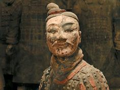 Head of a Kneeling Archer Qin dynasty B.) Terra cotta Excavated from Pit 2 Museum of the Terra Cotta Warriors and Horses of Emperor Qin Shihuang, Lintong, China Photography: Wang Da-Gang Terracotta Army, Archaeological Discoveries, China, Historical Artifacts, Chinese Art, Art History, India, Sculpture, Qin Dynasty