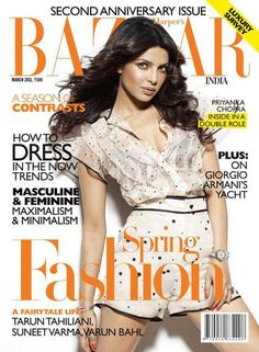 Harper's Bazaar Anniversary Supersized issue features Priyanka Chopra on its cover. The cover is mellow and nice. V Magazine, Magazine Cover Page, Fashion Magazine Cover, Glamour Magazine, Bollywood Actors, Bollywood Celebrities, Bollywood Fashion, Indian Film Actress, Best Actress