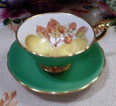 HAMMERSLEY TEA CUP AND SAUCER GREEN & GOLD ORCHARD FRUITS TEACUP WIDE MOUTH