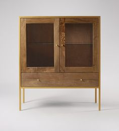 Swoon Editions Cabinet, Industrial style in mango wood and antiqued brass- Black Cabinets, Wood Cabinets, Cupboards, Cupboard Storage, Storage Cabinets, Furniture Decor, Living Room Furniture, Mid Century Cabinet, Living Room Storage