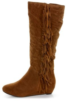 Havana 11 Tan Fringe Knee High Boots - $42.00