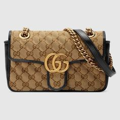 Gucci Mini Gg Marmont Quilted Shoulder Bag In Original Gg Canvas/black Gucci Marmont Mini, Gucci Belt Sizes, Gucci Uk, Gucci Gifts, Gg Marmont, Chain Shoulder Bag, Shoulder Length, Burberry Handbags, Gucci Bags