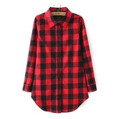 SheIn(sheinside) Red Buttons Long Sleeve Checker Plaid Blouse (1.075 RUB) ❤ liked on Polyvore featuring tops, shirts, flannels, jackets, long sleeve shirts, red, long sleeve collared shirts, red long sleeve shirt, long sleeve tops and plaid flannel shirt