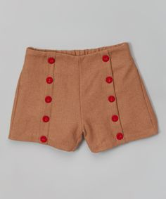 Tan Wool-Blend Military Button Shorts - Girls | zulily