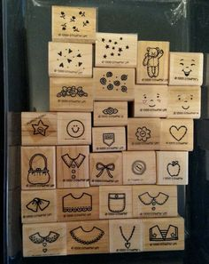 Stampin Up PAPER DOLLS Rubber Stamp Set 28 FACES Purse Heart Bow Flowers Clothes #StampinUp #HeartsPursesClothesFlowersFaces