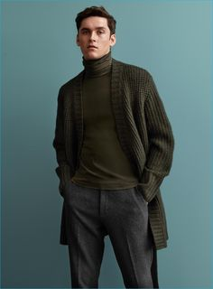 Anders Hayward pictured in a turtleneck and long cardigan sweater from H&M's fall-winter 2016 Studio collection.