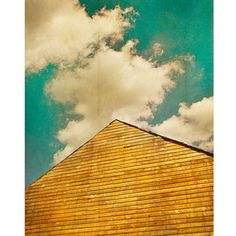 Barn Sky by Carl Christensen, $155 Based on one of Christensen's more traditionally-styled photographs, this heightened-color version blends his graphic design training with his photographic sensibility. The barn roof, the symbol of rural architecture, points straight to a two-tone arrangement of sky and clouds. The complimentary orange and blue tones give this image its decorative edge.