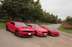 A classic muscle car showdown between the Chevrolet Camaro SS 1LE, Ford Mustang GT and Dodge Challenger R/T 392 Scat Pack