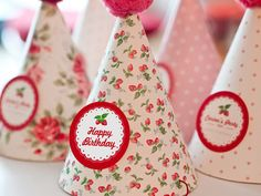 Printable party hats INSTANT DOWNLOAD - Strawberries birthday party collection on Etsy, $4.00