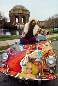 Historical photo of Janis Joplin and her psychedelic Porsche in front of the Palace of Fine Arts, San Francisco. Copyright Jim Marshall Photography LLC