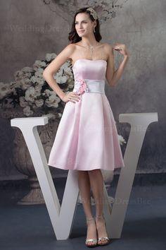 Strapless knee length satin bridemaid dress    A-line/Princess,Knee Length,Strapless,Empire,Sleeveless,Hand Made Flowers,Sashes/Ribbon,Zipper,Satin,