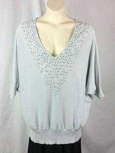 70ce52d83c Juniors Maurices Light Gray Sweater Plus Size 3X Dolman Sleeve V-Neck  Sequins  Maurices  VNeck