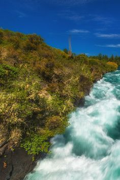Waters rage at Huka Falls on the Waikato River, near Taupo, New Zealand - New Zealand is probably one of the most photogenic country's on earth.  | The Planet D: Adventure Travel Blog: