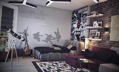 Quarto com decoração de rock - http://www.dicasdecoracao.com/quarto-com-decoracao-de-rock/