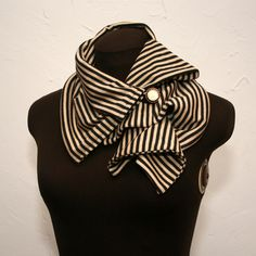 Black and White Pinned Scarf- Cute and unique scarf, reminds me of victorian beach fashion. #handmade #etsy #stripes
