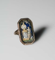 heaveninawildflower: Memorial ring (late 18th century). 'I count the hours until we meet.' Clock reads 11.30. Gold, small pearls, gold wirework, enamel and glass. Image and text courtesy MFA Boston. Europe, Jewelry