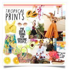 """TROPICAL"" by fashionismyprofession8 ❤ liked on Polyvore featuring Linda Farrow, Delpozo, Stuart Weitzman, C. Wonder, Gap, Tory Burch, tropicalprints and hottropics"