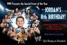 wwe birthday invitations printable free | WWE Wrestling | Fancy Invites