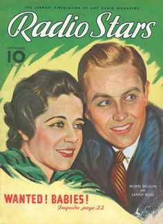 "Art from: Radio Stars Muriel Wilson and Lanny Ross."" Artist: Source: Robert, Restoration by: magscanner Hollywood Magazine, Star Magazine, Bob Hope, Thanks For The Memories, Vintage Magazines, Advertising Poster, Theme Song, Vintage Hollywood, Songs"
