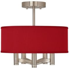 """China Red Textured Silk Ava 5-Light Nickel Ceiling Light  $149  14"""" wide.  But this fabric can be used on any of the lampsplus giclee fixtures.  Also comes in grey solid."""