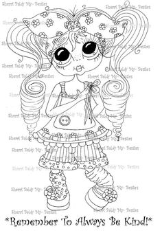 INSTANT DOWNLOAD Digital Digi Stamps Big Eye Big Head Dolls Digi  My Besties Remember To Always Be Kind  By Sherri Baldy