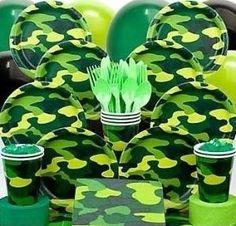 Army Party Birthday Party Plan a birthday your little boy will remember for many years when you choose the army party theme. This is sure to be a great day when the room is decorated with camouflage party supplies. Plates, cups, napkins, a table cover, streamers and candles all in army green are available for this party. If it will be held outdoors, the streamers and balloons can be hung from trees and a picnic table will be great for the kids to use for eating. by candy