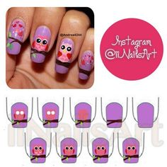 Owl nails|| credit: @Andrea Avalos - iinailsart @ Instagram Web Interface - 5th village