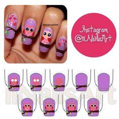 Owl nails|| credit: @Andrea Avalos - iinailsart @ Instagram Web Interface - 5th village
