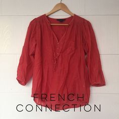 French Connection Sheer Tunic Oversized French Connection sheer tunic in a light pink (almost orange). Very soft and flowy. Size says 0, but it's giving size could fit to medium-large. NWOT! No trades or offline, bundle for a discount, reasonable offers considered. French Connection Tops Tunics