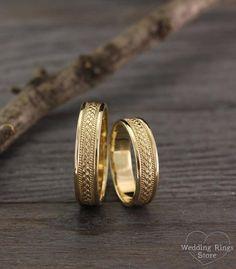 Braided wedding rings set Filigree wedding bands Unique | Etsy