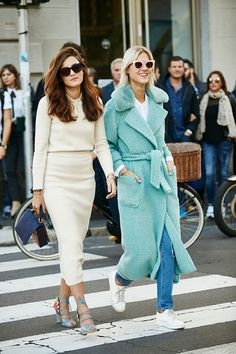 street style - that mint green coat!!