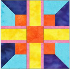 Downing Cross Paper Piece Foundation Quilting Block Pattern PDF