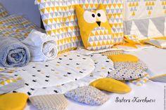 Купить Бортики в кроватку - желтый, бортики в кроватку, для новорожденных, текстиль для детской, комплект в кроватку