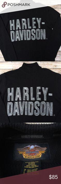 Harley-Davidson Short Turtleneck Sweater Harley-Davidson Men's Medium Black Knit Long Sleeve Turtleneck Sweater with Harley-Davidson embroidered on front. EUC. Harley-Davidson Sweaters Turtleneck