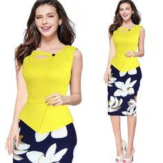 Fantaist Women Summer Sleeveless Button Flare Floral Print Elegant Business Party Formal Work Office Peplum Bodycon Pencil Dress