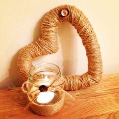#craft #diy brown twine heart and jar!
